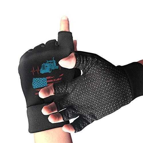 Trucker American Flag Truck Driver Finger Fingerless Gloves Outdoor Men's/Women's Mountain Bike Gloves Anti Slip Shock Absorbing Gel Pad Half Finger Gloves