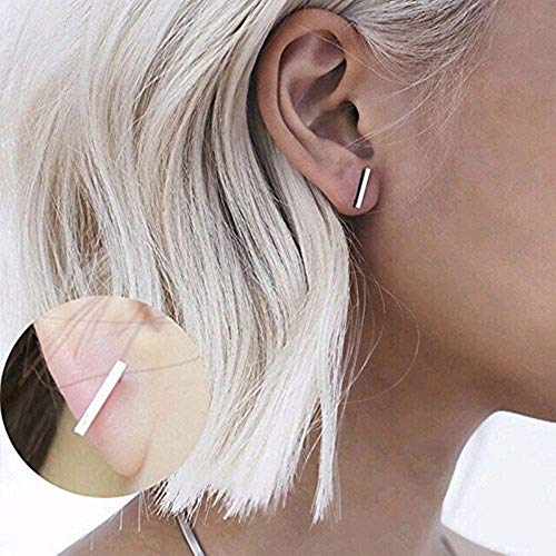 Trendy Punk Earings Simple T Bar Earrings Women Ear Stud Earrings Chic Jewelry - Color Silver