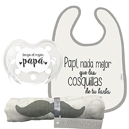 Pack Bebé dia del Padre/Muselina 1x1 Papa + chupete + babero ...