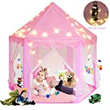 Canopy Solid Wood Folding Chair Sunba Youth Kids Play, Super Fantasy Pink Princess Castle Playhouse Canopy Tent with LED Light for Children Indoor and Outdoor