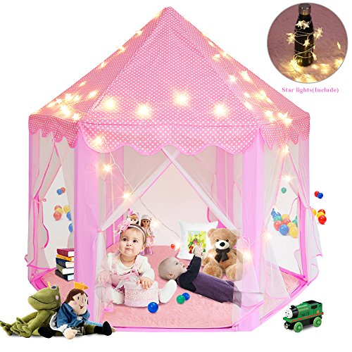 Sunba Youth Girls Princess Castle Play Tent, Super Fantasy Pink Playhouse Canopy Tent with LED Star Light for Children Indoor and Outdoor