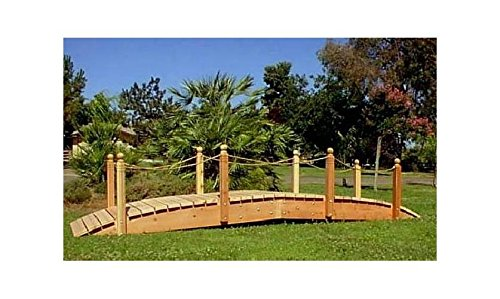 14 ft. Span Garden Bridge w Rope Rail (14 ft. Rope Rails with Lights)