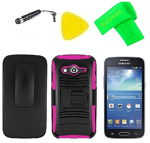 Holster w Heavy Duty Hybrid w Kickstand Phone Cover Case + LCD Screen Protector Guard + Extreme Band + Stylus Pen + Pry Tool For Samsung Galaxy Core LTE 4G SM-G386F (Belt Clip Holster Black/Pink)