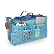 """Hoxis Insert Organizer Diaper Bag Expandable 13 Pockets Organizer with Handles 10.6"""" X 6.3"""" Bag in Bag (Blue)"""