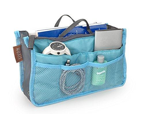 "Hoxis Insert Organizer Diaper Bag Expandable 13 Pockets Organizer with Handles 10.6"" X 6.3"" Bag in Bag (Blue)"