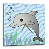 3dRose dpp_13807_1 Wall Clock, Cute Grey Dolphin Blue Ocean, 10 by 10-Inch