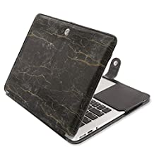 Mosiso PU Leather Book Folio Stand Case for MacBook Air 13 Inch (Models: A1466 and A1369) - Black Marble