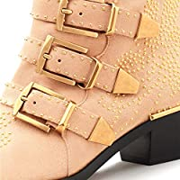 d1e0efab8021b GEEDIAR Leather Ankle Boots Women Rivet Booties Studded Shoes Metal Buckle  Shoes Low Heels