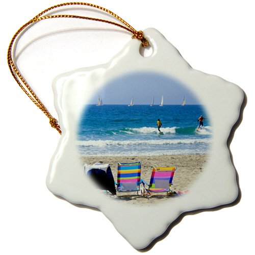 California 3dRose ORN/_191692/_1 Beach Chairs 3-Inch USA Snowflake Ornament Newport Beach Porcelain and Sailboats Surfers