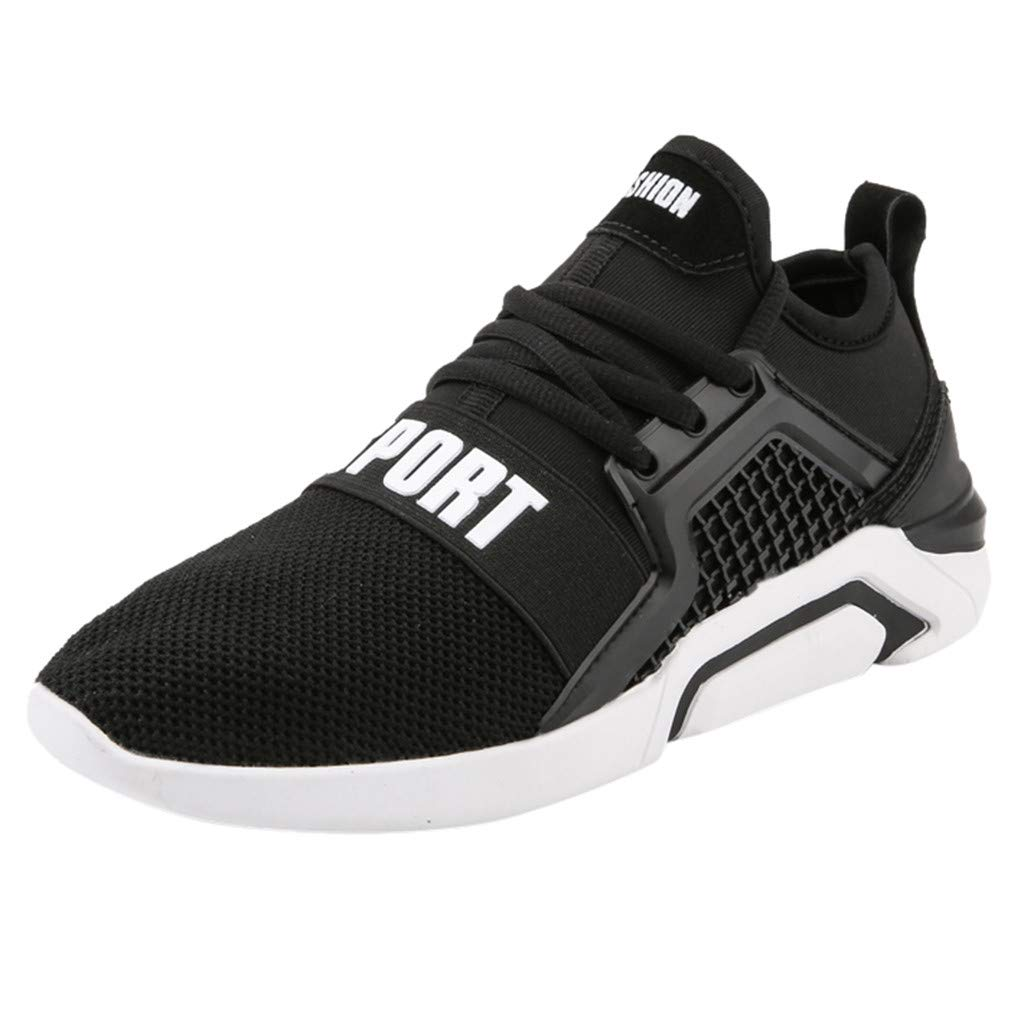 Gym Running Shoes Women,Mosunx Athletic 【Mesh Lace Up】Lightweight Breathable Mid Top Flat Fashion Casual Walking Sneakers (7 M US, Black)