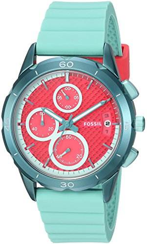 Fossil Women's ES4171 Modern Pursuit Sport Chronograph Teal Silicone Watch