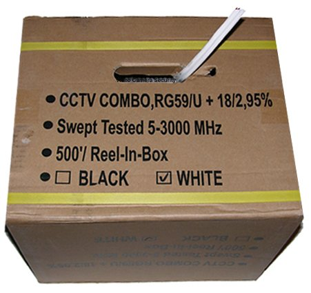 500' CCTV Cable RG-59U 18/2 Siamese Power/Video Cable White