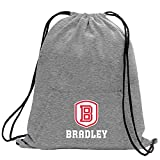 Promoversity NCAA Bradley Braves Adult Sweatshirt Cinch Bag,17.75'' x 14.5'',Athletic Heather