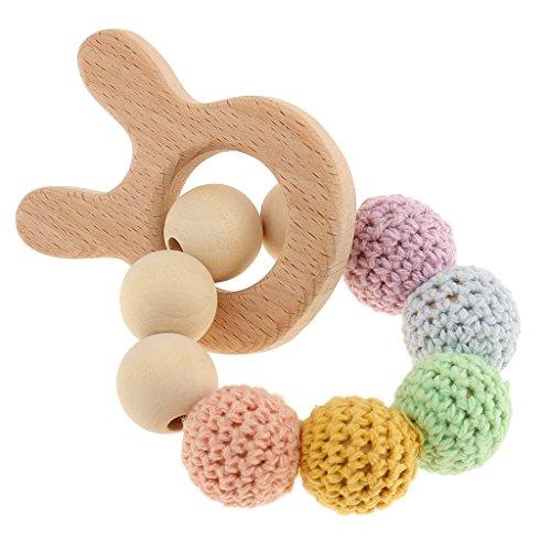 MagiDeal Bracelet Dentition Bebe en Perles de Bois Teether Bébé Jouet pour Saisir - Lapin