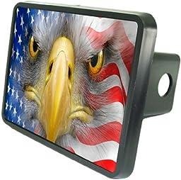 American Eagle Face in Flag Custom Hitch Plug for 2\