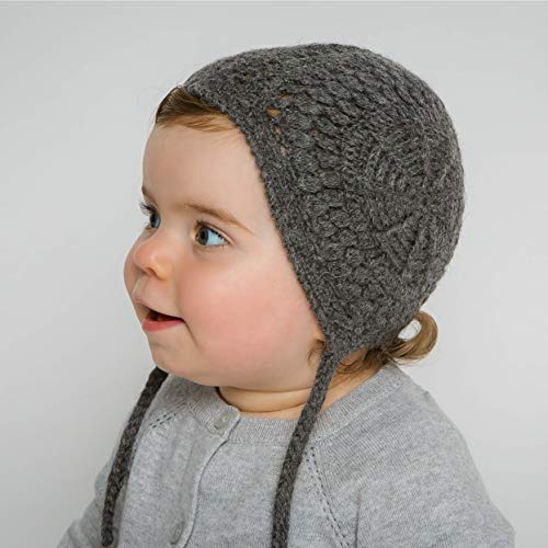 (Hand-Knit 100% Organic Alpaca Wool | Loreto Bonnet Hat 0-6 Months (Charcoal Grey) by Surhilo |Soft, Quality, Hypoallergenic |Perfect & Eco-Friendly Way to Keep Your Baby & Toddler Cozy & Comfortable)