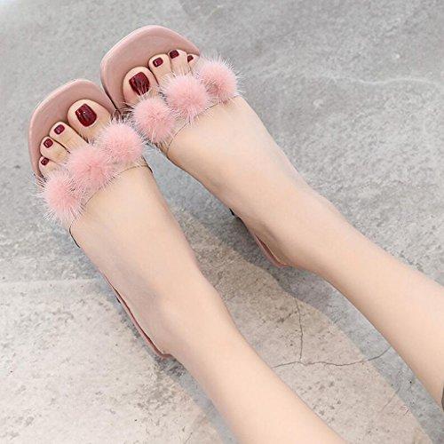 Mi Mode Pink Demi Sandales Taille Drag Pink en Air Femelle Plein Chaussures Rétro Flop Couleur De Paresseux D'été UK4 Talon CN36 Xy® Flip Personnalité EU36 p0OwqSwY