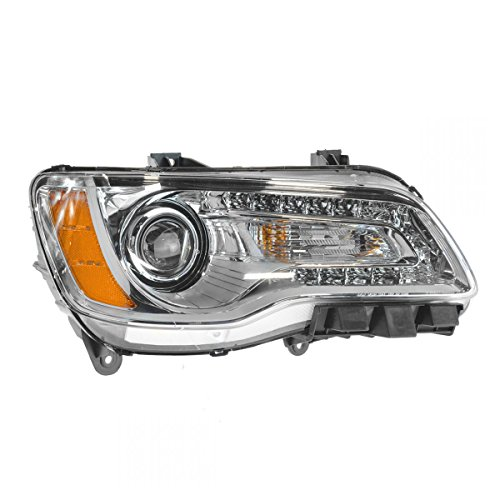 Headlight Halogen Chrome Bezel Passenger Side Right RH for 11-14 Chrysler 300