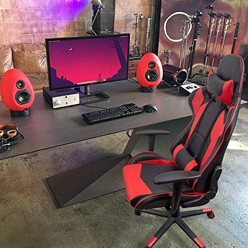 Homall Gaming Office Chair Computer Desk Chair Racing Style High Back PU Leather Chair Executive and Ergonomic Style Swivel Chair with Headrest and Lumbar Support (Red)