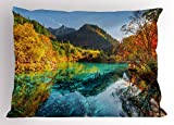 Lunarable Landscape Pillow Sham, Colorful View of Five Flower Lake with Azure Water Among Fall Woods in Jiuzhaigou, Decorative Standard Size Printed Pillowcase, 26 X 20 inches, Multicolor