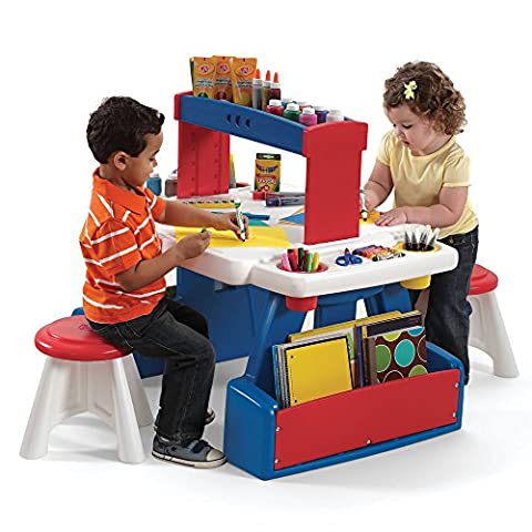 Step2 Toddler Activity Learning Table with Two Stools Set - Durable Plastic Arts Creative Pre-School Nursery Children's Craft Desk with Storage for Playroom