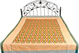 Exotic India Apricot-Cream Single-Bed Bedspread with Ikat Weave Hand-Woven in Pochampally - Pure Cot