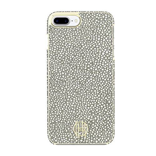 House of Harlow 1960 iPhone 7 Plus Case, Snap Case [Shock Absorbing] fits Apple iPhone 7 Plus - Grey Galuchat/Gold Metallic