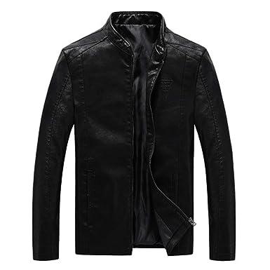 Oudahood Mens PU Jackets Coats Motorcycle Leather Jackets Black M