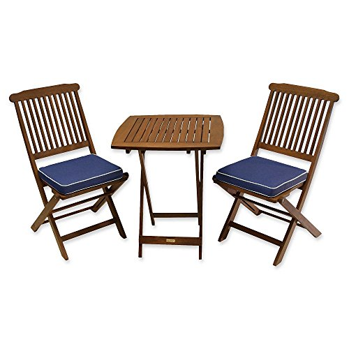 Outdoor Interiors Eucalyptus 3 Piece Round Bistro Outdoor Furniture Set - includes cushions (BLUE)
