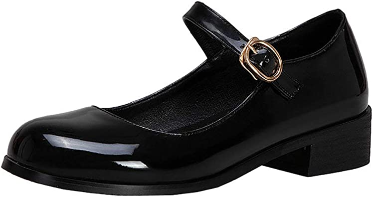 LUXMAX Womens Patent Leather Low Heel