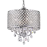 Cheap EDVIVI EPG801CH Chrome Finish Drum Shade 4-Light Crystal Chandelier Ceiling Fixture, Round