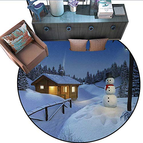 Christmas Non-Slip Round Rugs Wooden Rustic Log Cottage Scenery in The Winter Season Warm Moonlight Spirit Living Dinning Room and Bedroom Rugs (79