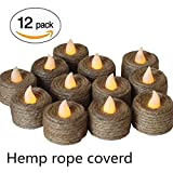 CandleLife Battery-Powered Hemp Rope Flameless LED Tealights Candles, Pack of 12