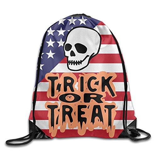 Trick Or Treat Skull Halloween Unisex Men Women Drawstring Backpack Gym Bag