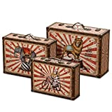 WHW Whole House Worlds Big Top Circus Animal Suitcase Storage Boxes, Set of 3, Various Sizes, Faux Leather, Wood, Lined, Brass Hardware