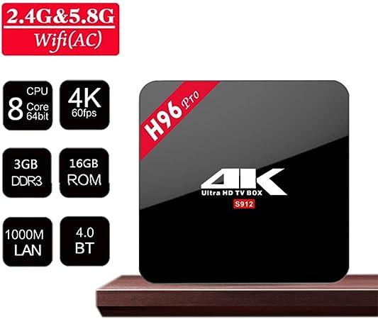 Smart TV Box, 4K HD Set Top Box, Display Android Player Red Digital Receptor 3 GB + 16 GB procesador de 4 núcleos de Cine en casa y el Juego Jugar: Amazon.es: Hogar