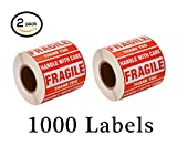 1000 stickers roll - SJPACK 1000 Fragile Stickers 2 Rolls 2'' x 3'' Fragile - Handle With Care - Thank you Shipping Labels Stickers (500 Labels/Roll)