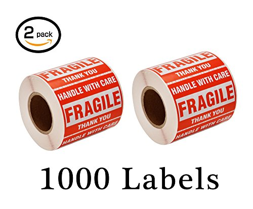 SJPACK 1000 Fragile Stickers 2 Rolls 2'' x 3'' Fragile - Handle with Care - Thank You Shipping Labels Stickers (500 (2' 500 Label)