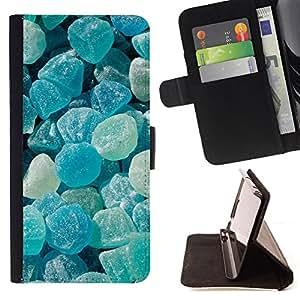 - blue rocks sun summer stone gem - - Prima caja de la PU billetera de cuero con ranuras para tarjetas, efectivo desmontable correa para l Funny HouseFOR Sony Xperia m55w Z3 Compact Mini
