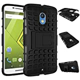 MOONCASE Moto X Play Case Detachable 2 in 1 Hybrid Armor Design Shockproof Tough Rugged Dual-Layer Case Cover with Built-in Kickstand for Motorola Moto X Play Black