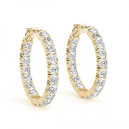 14kt Yellow Gold Inside Out Sur-Lok Diamond Hoop Earrings 5.00ct (Inside Out Diamond Earrings)