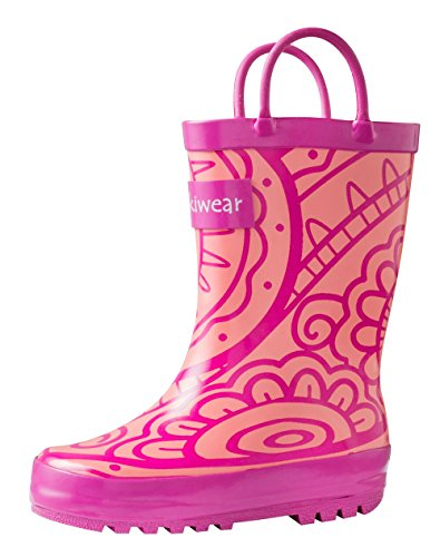 Oakiwear Kids Rubber Rain Boots With Easy-On Handles, Henna, 8T US Toddler (Henna Easy)