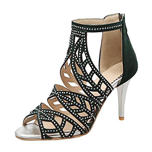 YE Damen Cut Out Sandalen Stiletto Riemchen High Heels Offen mit Reißverschluss und Strass 8cm Absatz Schuhe Grün