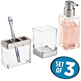 mDesign Decorative Glass Bath Accessory Set for Bathroom Vanity Countertop and Sinks, Rustproof - Includes Foaming Soap Dispenser Pump, Toothbrush Holder, Tumbler Cup - Set of 3, Clear/Brushed Nickel