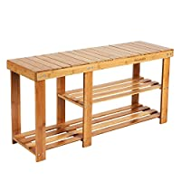 HOMFA Bamboo Shoe Rack Bench 3-Tier, Entryway Storage Organizer with Seat, Shoe Shelf for Boots, Multi Function Furniture for Hallway, Bathroom, Living Room, Corridor