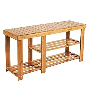 HOMFA Natural Bamboo Shoe Rack Bench 2 Tier Boot Organizing Rack Entryway  Storage Shelf Hallway Furniture