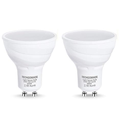 2 X Techgomade GU10 Bombillas LED de Atardecer a Amanecer, Bombillas del sensor de luz