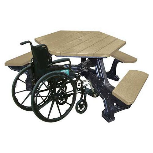 Plaza Handicap Access Hex Table, Weathered Top/Black Frame