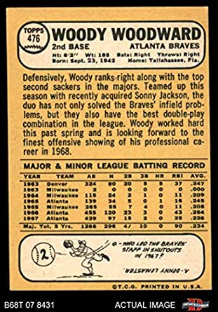 Amazon.com: 1968 Topps # 476 Woody Woodward Atlanta Braves (Baseball Card) Deans Cards 4 - VG/EX Braves: Collectibles & Fine Art