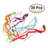 TOYMYTOY Ribbon Wand Fairy Stick with Bells Wish Wands for Wedding Party Favors 30PCS